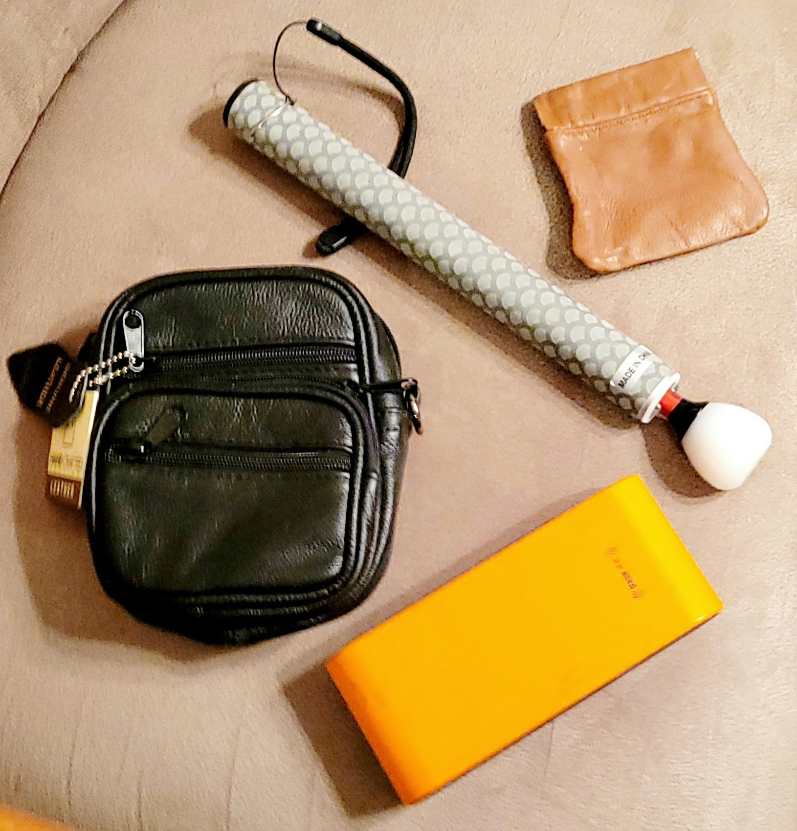Picture displaying 4 leather and gadget products: gadget bag/large neck puuch; telescoping cane,